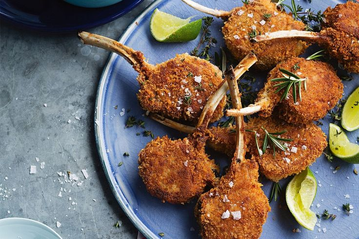 CRUMBED LAMB CUTLETS WITH BEETROOT CHUTNEY.
