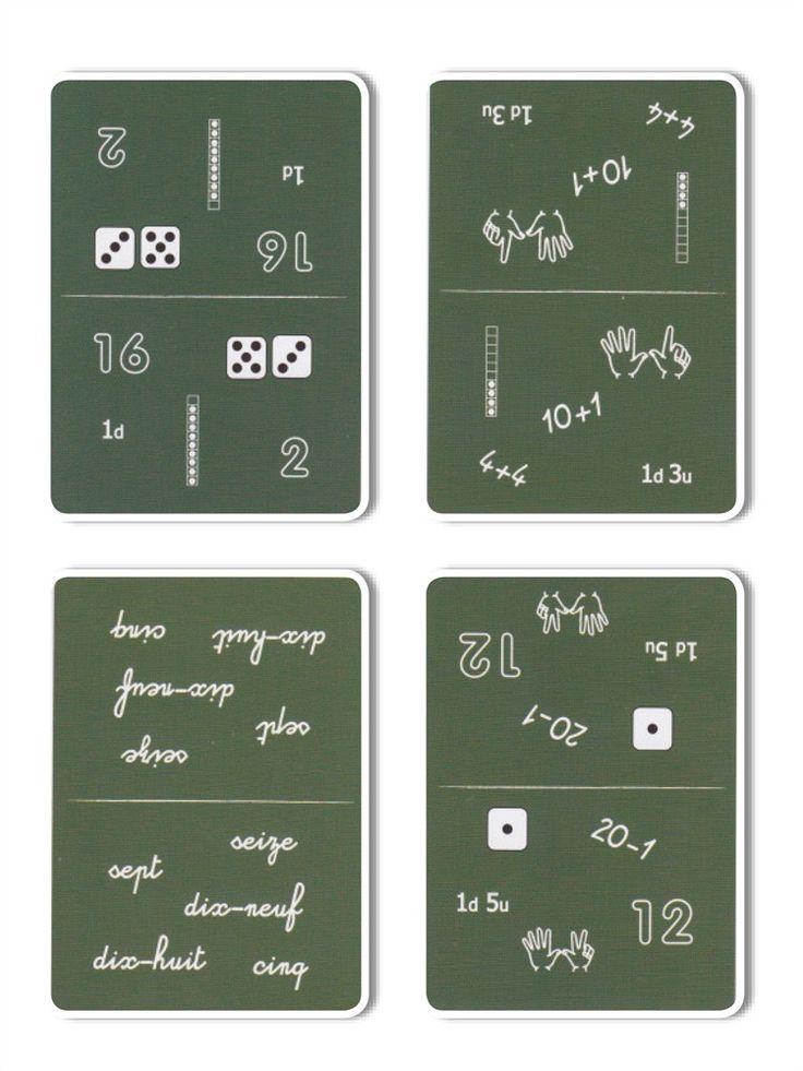 Sur chaque carte figurent 5 nombres (entre 0 et 20), qui apparaissent sous lune de ces 7 formes : chiffres arabes, dés, colonnes graduées, mot, opération arithmétique, doigts des mains, décomposition en dizaines et unités. Il sagit de trouver le nombre commun entre les deux cartes. Contient 55 cartes dim. 6,4 x 8,8 cm, 1 boîte métal.