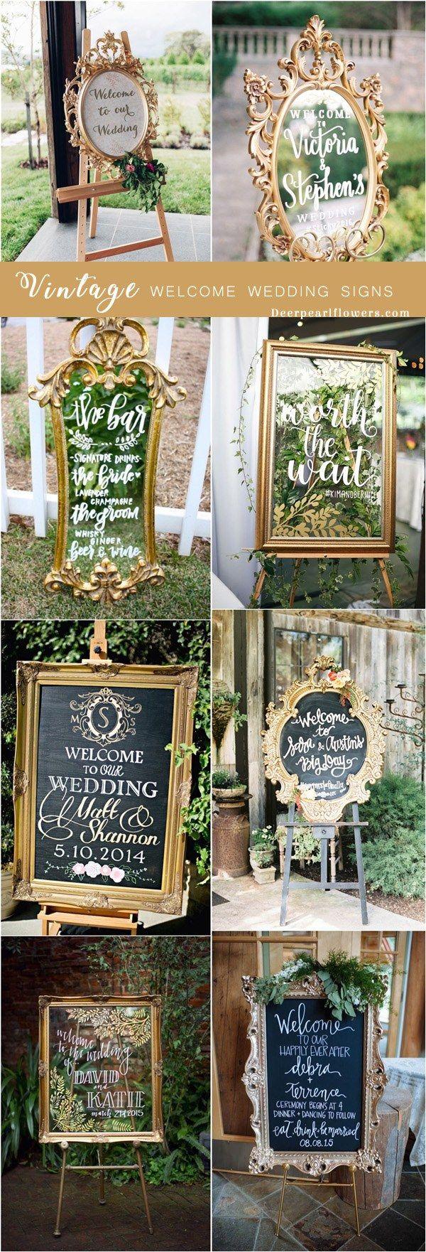 vintage wedding welcome sign