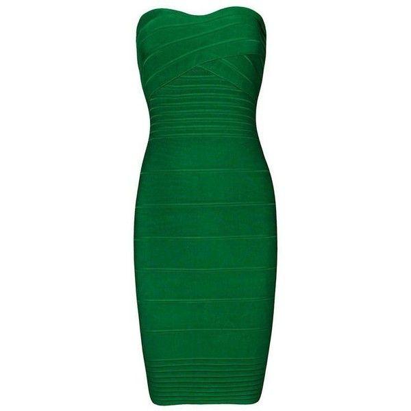 Pinterest Herve Leger Bandage Dress ❤ liked on Polyvore featuring dresses, green dress, bandage dress, hervé léger, green bandage dress and herve leger dress