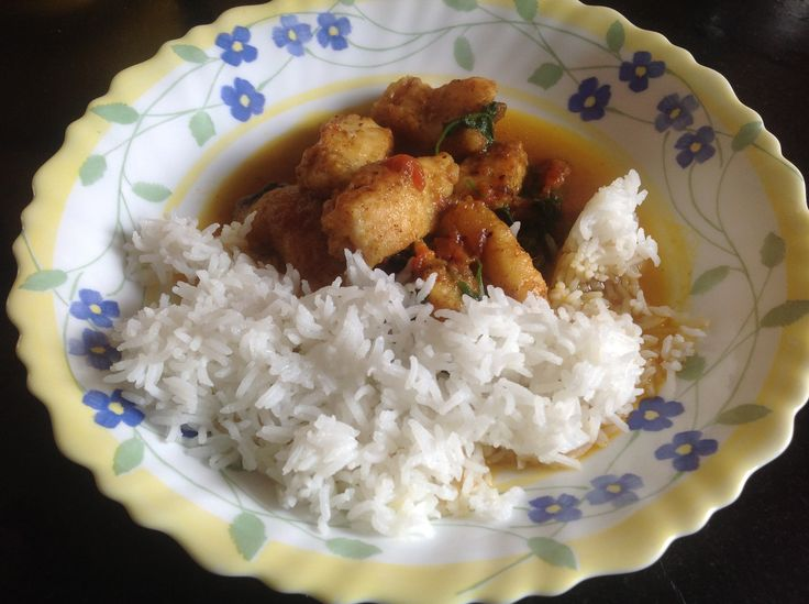 Cumin Basa Curry with Steamed Rice
