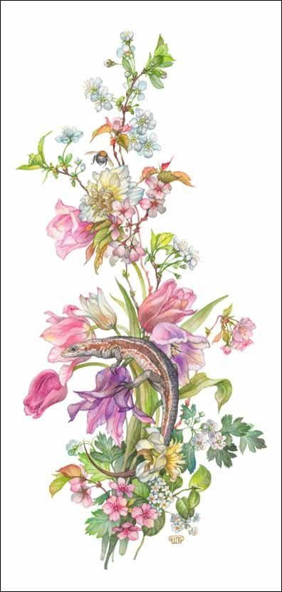 Fleur. Lézard.   Ящерка