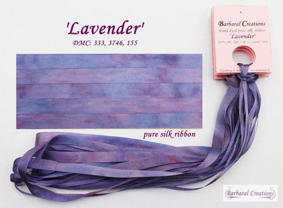 Hand dyed 4 mm wide pure silk ribbon  by BarbaralCreations on Etsy