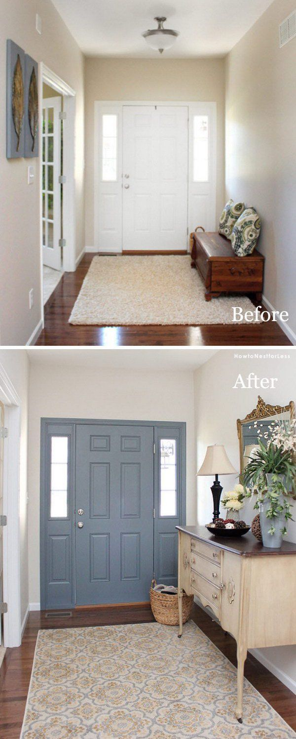 Entryway Foyer Makeover: Paint The Inside Of Your Front Door.                                                                                                                                                      More