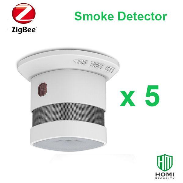 Arbeiten mit SmartThings Zigbee Hub 5 stück Red Dot reworded Zigbee feuer rauch sensoren wireless