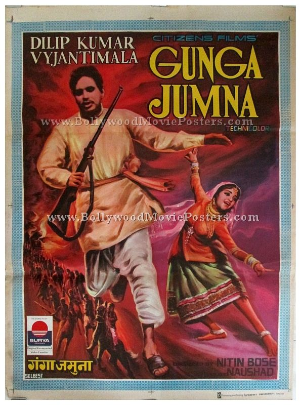 """Old hand painted Bollywood movie poster of the blockbuster Hindi film, Gunga Jumna (1961) for sale. This is an actual surviving vintage publicity poster of the 1961 film that featured the """"Tragedy King"""" and """"Ultimate Method Actor"""" of Indian cinema, Dilip Kumar in the lead role. Gunga Jumna was one of the biggest hits of the 1960s and bagged several awards. The film's unique theme catapulted it to cult status. Many sources have ranked Gunga Jumna as a must see film and included it in the top…"""