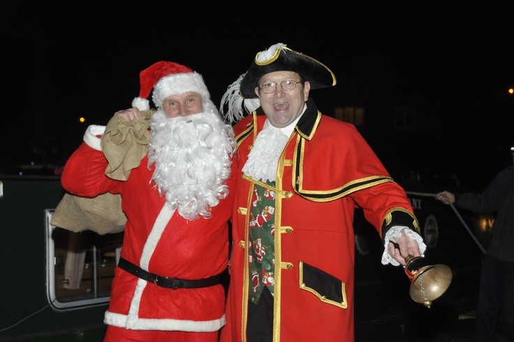 Santa and the Market Drayton Town Crier at Carols by the Canal 2011
