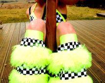 Neón furry peluches funky pata imitación piel de pelo largo botas mullidas plur clubwear rave gators
