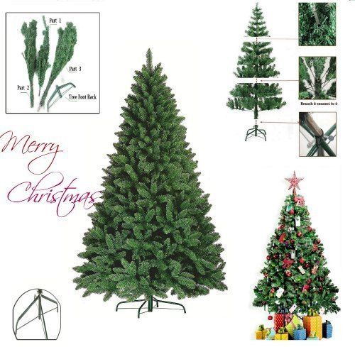 Green Artificial Christmas Pine Tree 7ft Home Decoration Traditional Metal Stand