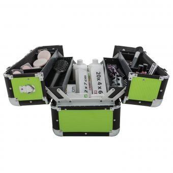 anndora Beauty Case Kosmetikkoffer Schmuckkoffer 21 L - Aluminium schwarz Grün  | Grün-Limette