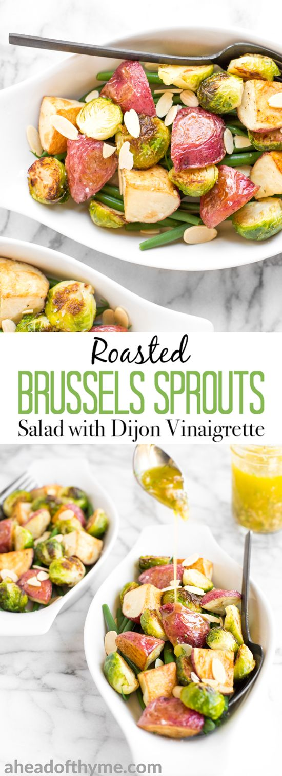 This roasted brussels sprouts salad with creamy potatoes, crispy string beans, and dijon vinaigrette makes for a delicious vegan meal this season! | aheadofthyme.com via @aheadofthyme