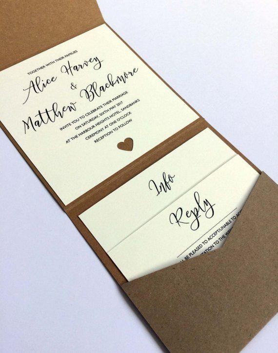 Heart Pocketfold Wedding Invitation / Info Card / Reply Card / Menu