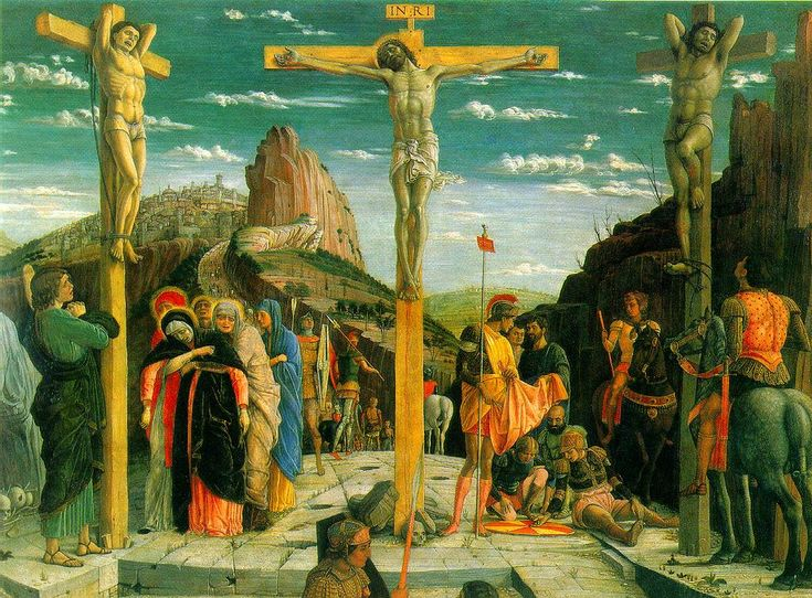 Mantegna's Calvary - One of three paintings that form the predlla of the altarpiece of San Zeno in Verona, Italy, the original was removed to the Louvre.