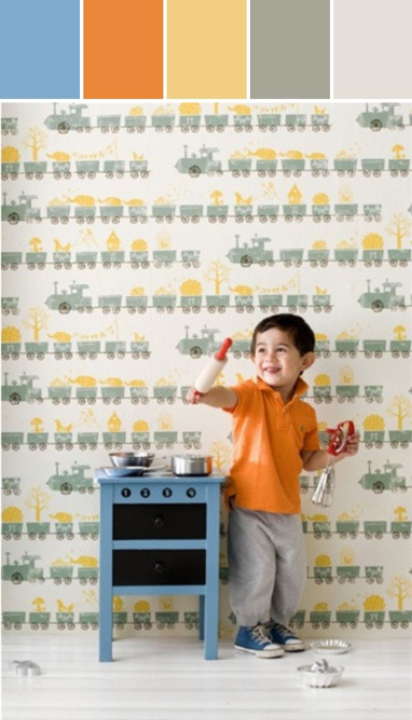 Tiny Train Wallpaper Design by Fern Living Designed By Burke Decor via Stylyze http://www.pinterest.com/jaclynwb/colour-palettes-i-love/