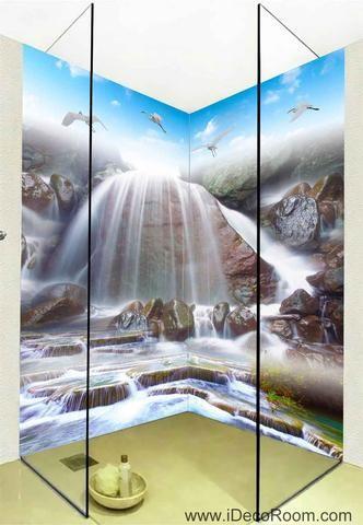 3D Wallpaper Birds Fall Stream Wall Murals Bathroom Decals Wall Art Print Home O…