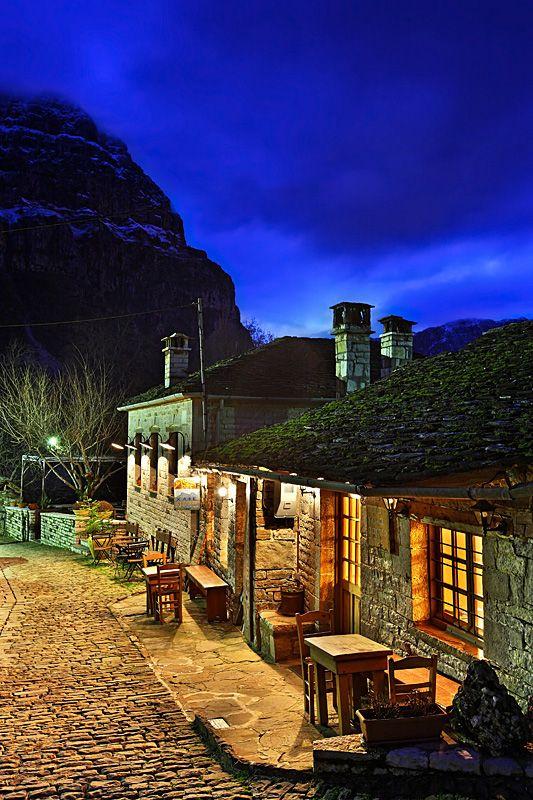 Epirus, village views, Greece. Nightlife on the mountains - Papigo, Ioannina www.house2book.com