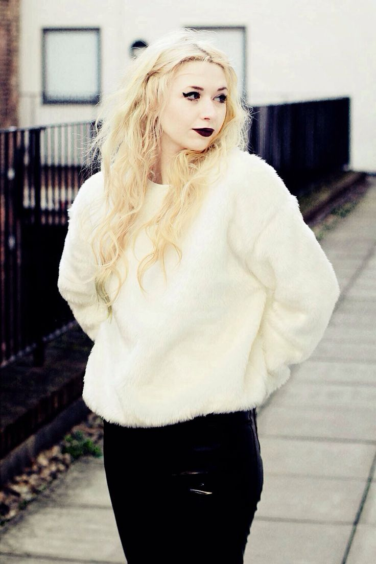 Fuzzy White Sweater + Black Skinnies + Plum Lips | Casual Fashion ...