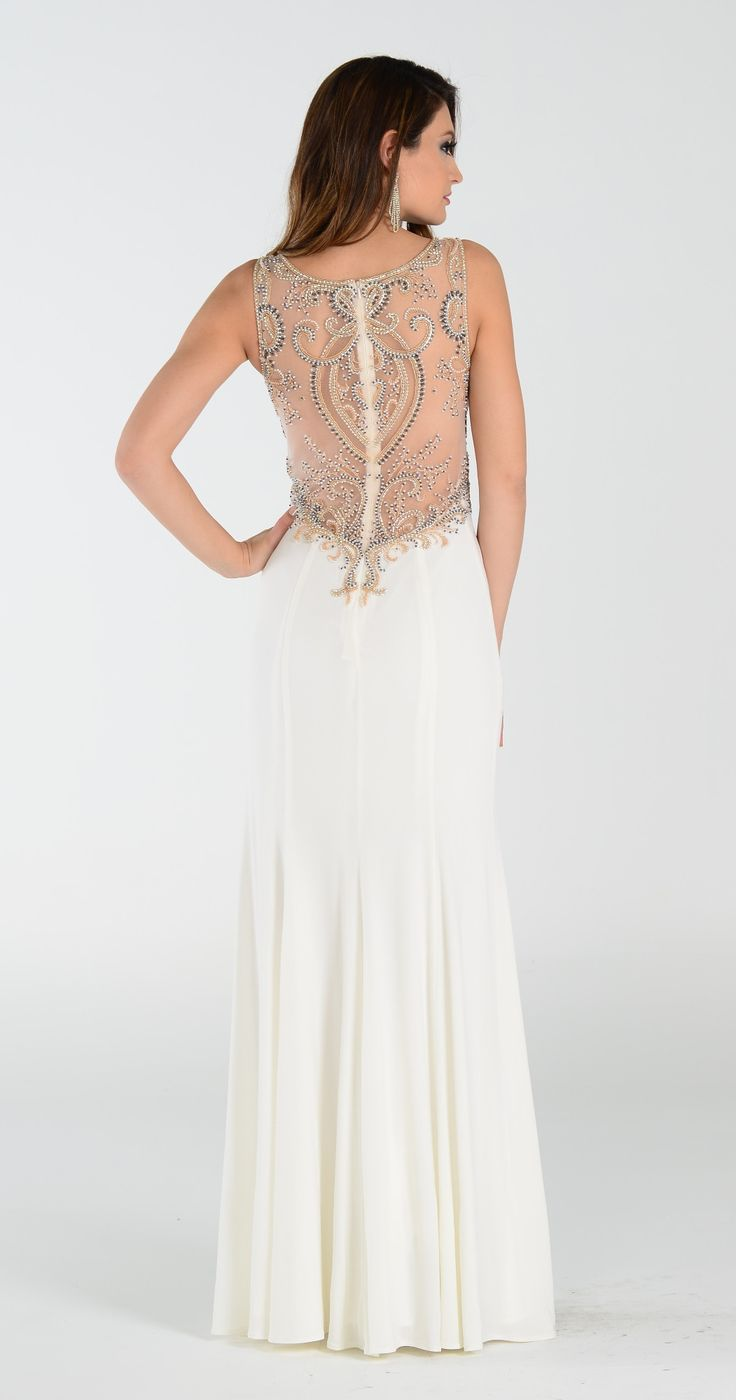 Fully beaded sheer open back long fitted prom dress 101-7356 ivory