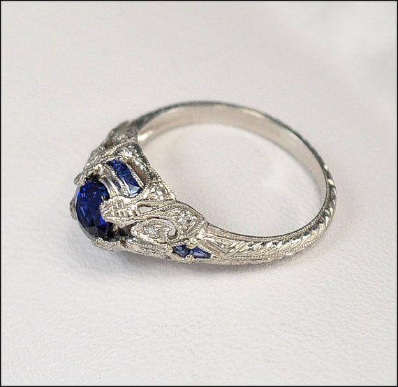 antique sparkle   Antique Art Deco Ring Platinum Diamond Engagement Ring Sapphire ...
