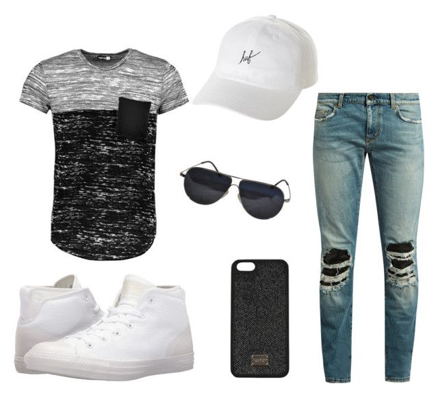 """Holiday Men"" by saffaatun on Polyvore featuring Boohoo, Yves Saint Laurent, Converse, BMW, HUF, men's fashion and menswear"