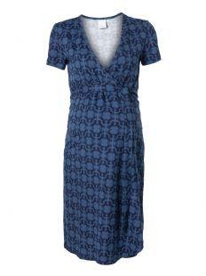 Maternity Wrap Dress Irene Animal Indigo Blue