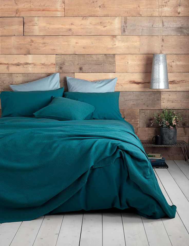 Washed Cotton Percale Teal Bedding Set