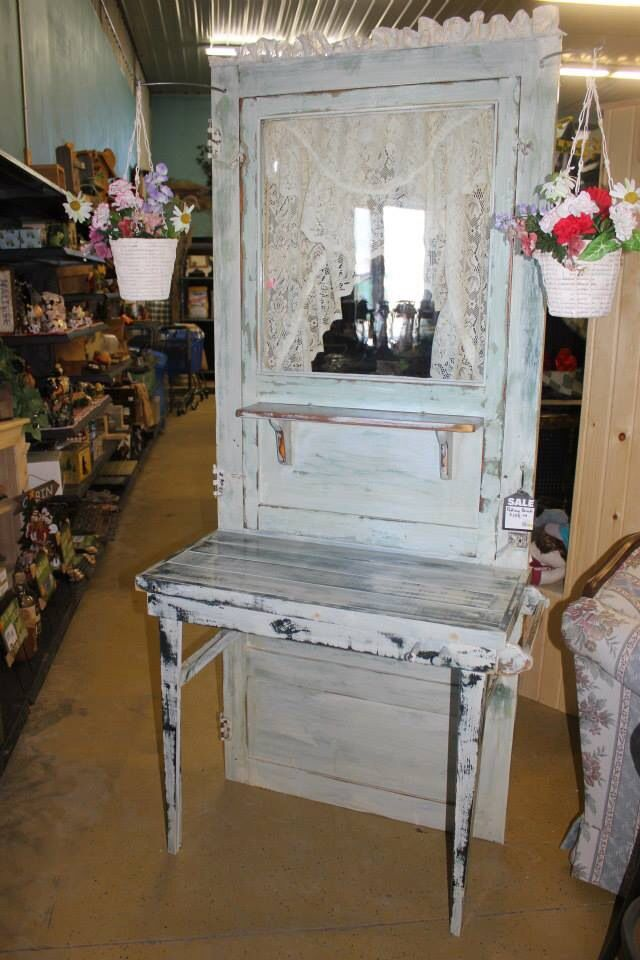 Potting Bench From An Old Door Through The Garden Gate