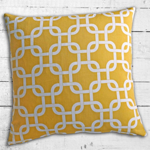 Cushions from Cushionopoly - Linked Yellow cushion cover. From the Beach House collection