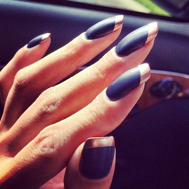 "36 Likes, 2 Comments - Ni Alaya Khotpanya (@nialaya) on Instagram: ""Russian Navy Matte nails with rosegold tips  @opi_products #OPI #MattePolish #RussianNavy #matte…"""