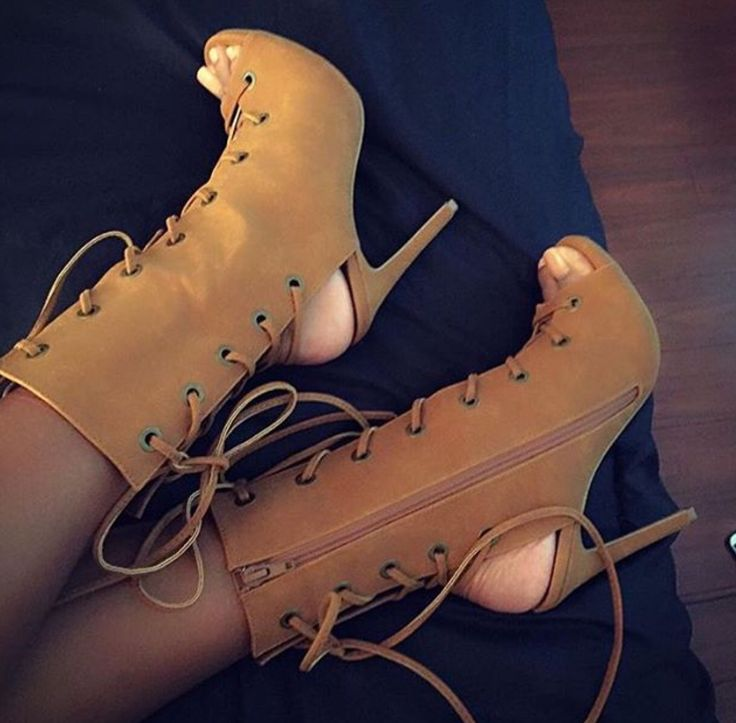 Tan lace up booties! I have these! Love them♡