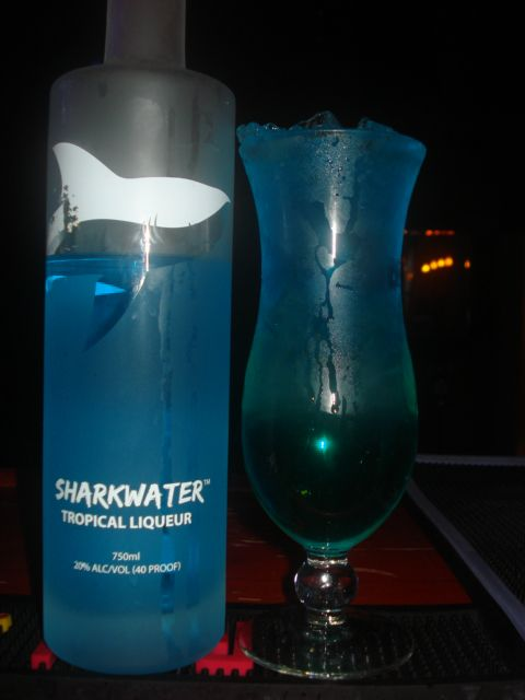 shark urine sample  made with sharkwater tropical liqueur  For more cocktail pictures, follow the link and like the page.  Thanks https://www.facebook.com/pages/Damien-The-Intoxicologist-Filth/187108378032348?ref=hl
