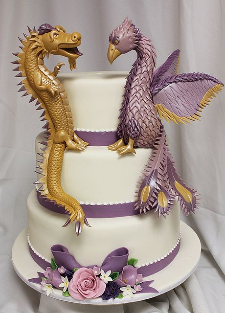 dragon pheonix wedding cake by Amanda Oakleaf Cakes, via Flickr