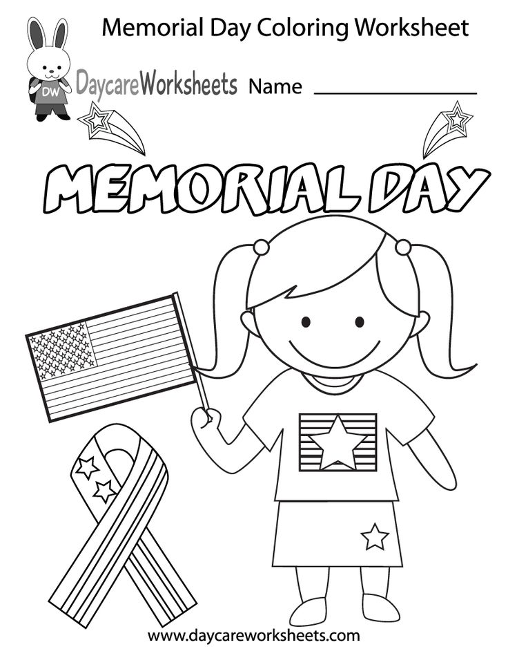 Preschoolers can color in a United States Flag, an