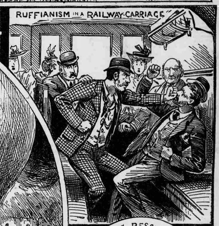 """Ruffianism in a Railway Carriage,"" Illustrated Police News, Saturday 15 September 1894."