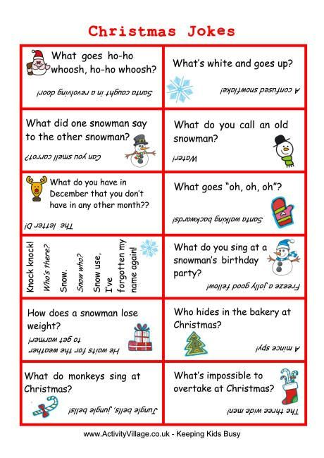 Christmas Jokes Lunch Box Notes