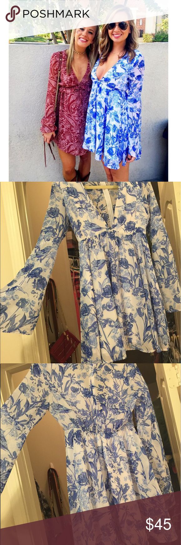 Blue & White Urban Outfitters Dress Super cute dress - worn one time. Zips up in Back with closure. Purchased from Urban online. Size small. Urban Outfitters Dresses