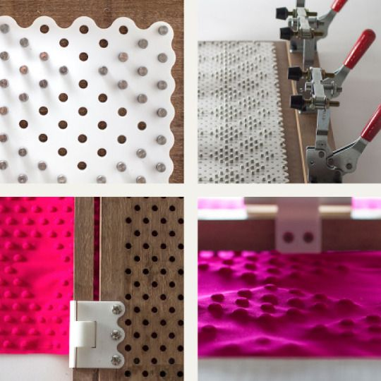 Embossed Textiles by Tiffany Loy | The Cutting Class, Image 7. Detail images of the Emboss Machine.