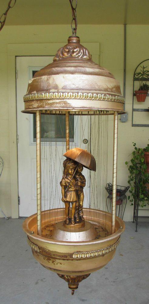 VTG RARE Creators Inc OIL RAIN LAMP KIDS UNDER UMBRELLA