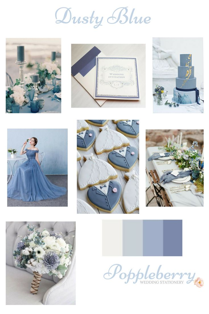 A collection of Dusty Blue ideas for a beautiful wedding colour scheme with stationery from www.facebook.com/Poppleberry