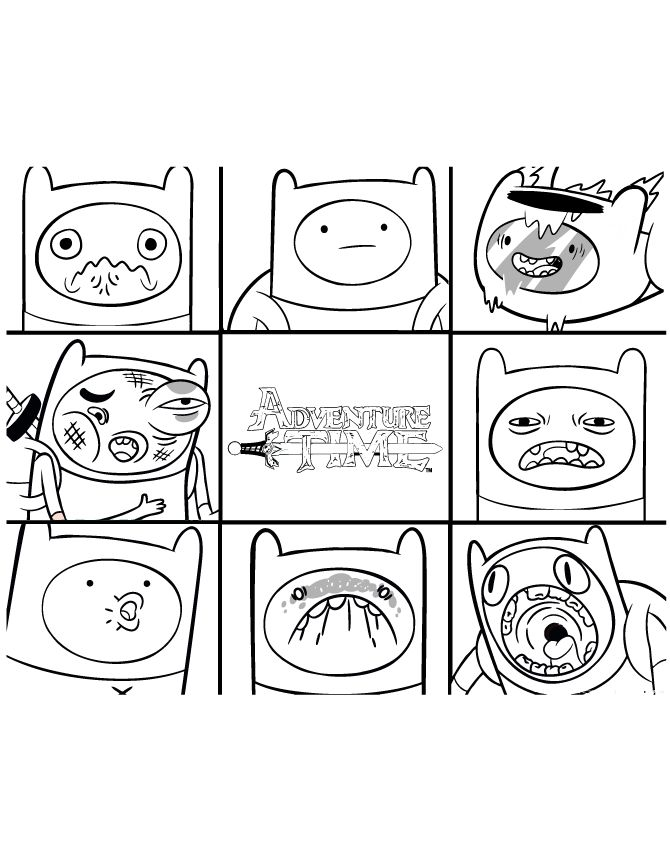 Adventure Time Finn With Many Faces Coloring Page