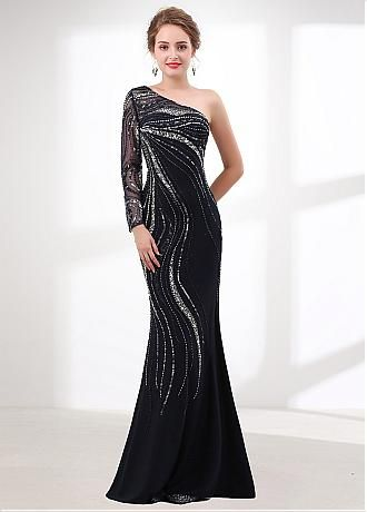 Attractive Stretch Hemp One-shoulder Neckline Mermaid Evening Dress With  Beadings   Sequins af3474f7f4be