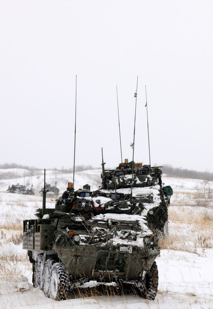Canadian Forces soldiers from 5th Canadian Mechanized Brigade Group (5CMBG) in light armoured vehicles (LAV III) and Leopard 2A6M tanks participate in an attack scenario during Exercise Maple Resolve on October 24, 2012 in Wainwright, Alberta