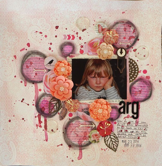 Sara Kronqvist - Saras pysselblogg: Arg | Mixed media scrapbook page in pink shades. Circles are old book paper