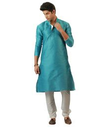 Ethnic White Silk Blend Full Kurta Pyjama Sets - Buy Ethnic White Silk Blend Full Kurta Pyjama Sets Online at Low Price in India - Snapdeal