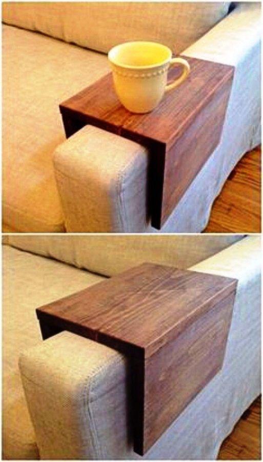 DIY Woodworking Ideas Wood Couch Arm Shelf.