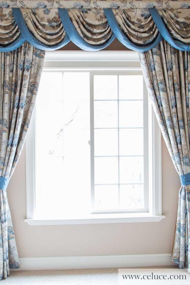 Persian Garden Half Overlapping Style Blue Kitchen Curtains