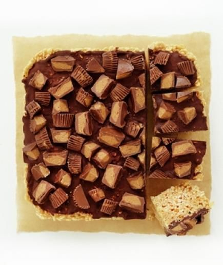Peanut Butter and Chocolate Marshmallow Treats: Give the classic kid-favorite an indulgent upgrade by adding a hefty spoonful of creamy peanut butter to the mix. Then, spread the surface of the prepared marshmallow treats with a mixture of melted chocolate and even more peanut butter. Finish with a sprinkling of chopped peanut butter cups.