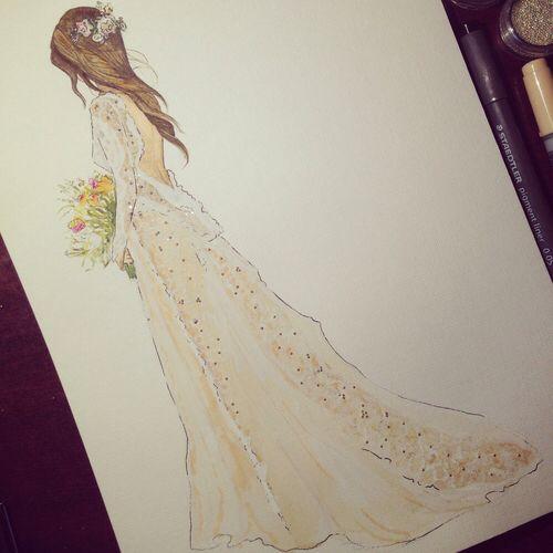 Bild über We Heart It https://weheartit.com/entry/142090784 #dress #fashion #girl #illustration #wedding #weddingdress #fashionillustration