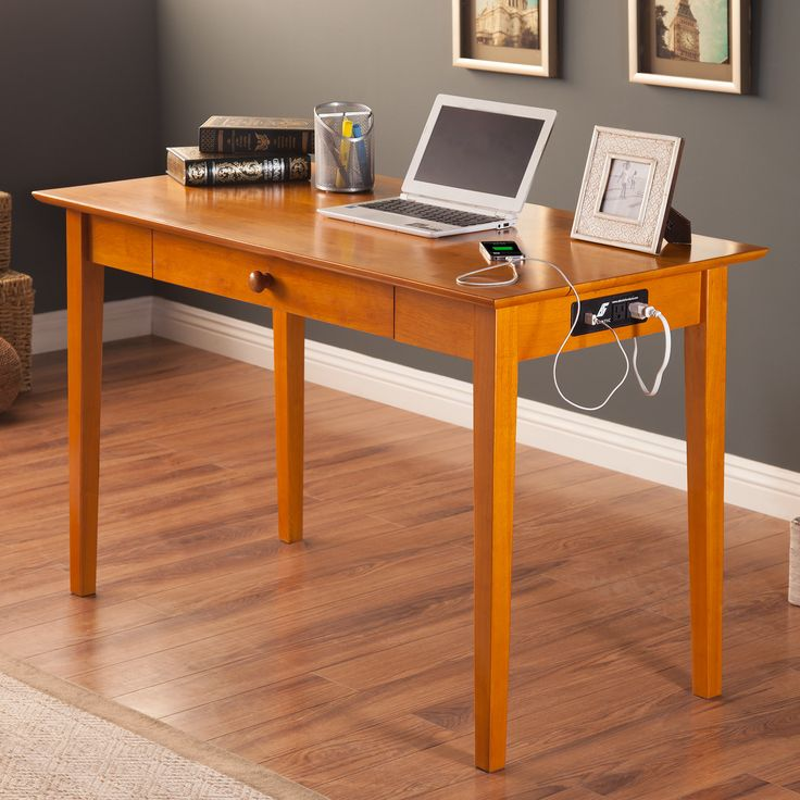 Atlantic Furniture Belmont Writing Desk with Drawer and Charging Station & Reviews | Wayfair