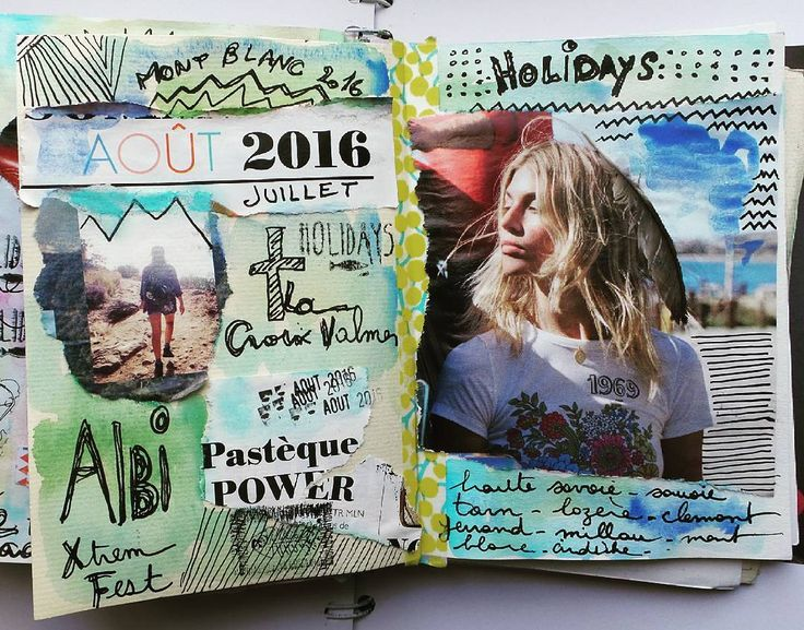 Pages dans mon #artjounal #collage #journal #artcollage #creativejournal…